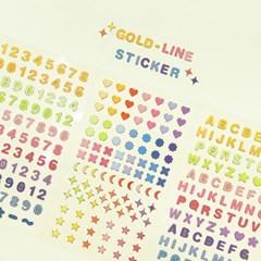 기본 스티커 2900 (리무버블)-금박 도형/숫자/알파벳