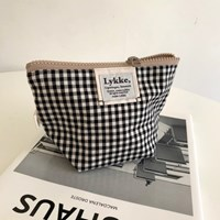 Lykke Gingham Check Pouch_Black
