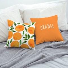 카페인테리어소품 소파 쿠션커버 45x45 프루츠 오렌지