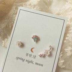 [봄밤달] 푸른하늘 벚꽃 써지컬 피어싱 (귀걸이침 변경가능)