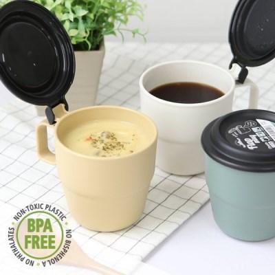 캠핑 커피 스프 원터치 플랩커버 보온보냉 휴대머그컵_(1241079)