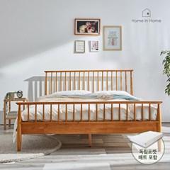 로망 북유럽 고무나무 원목침대 Q(독립매트포함) R064