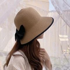 자외선 차단 리본 지사 밀짚 버킷햇 여름 모자