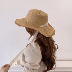 레이스 리본 턱끈 여름 여성 왕골 밀짚 모자
