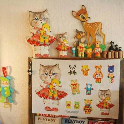페르시안 고양이 루미와 곰인형 (린넨20수 DIY패브릭 45X65cm)