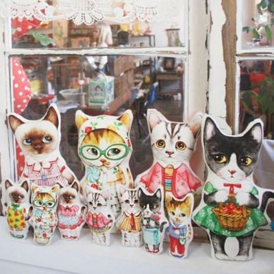 빈티지옷을 입은 고양이들 롤리 나비 소미 메리 (DIY패브릭 45X65cm)