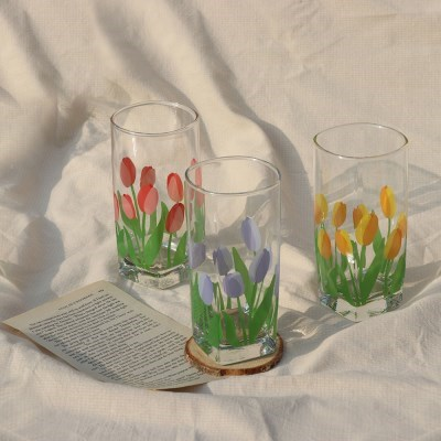 tulip of square high ball glass 320ml