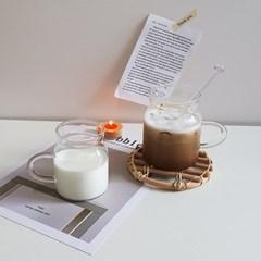 밀크 내열 카페유리컵 홈카페컵