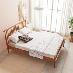 KUF 비본 원목 침대, 메모리폼 롤팩 매트리스 25cm Q_(2014363)