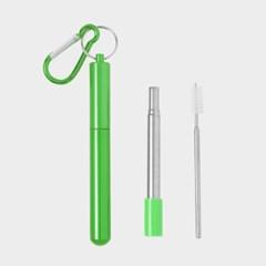 길이조절 휴대용 스텐 빨대(23cm) (그린)