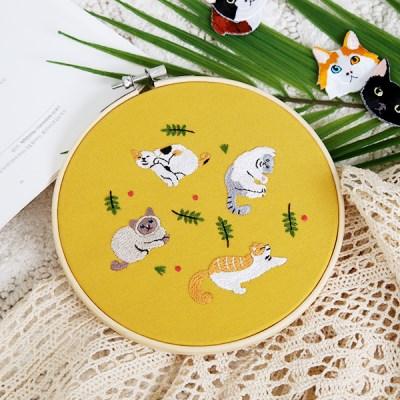 프랑스자수 DIY세트 고양이 소풍
