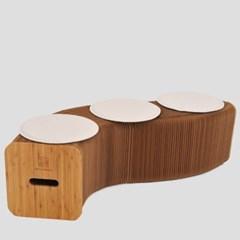 접이식 크라프트지 아코디언 의자+방석 3개 포함_(242851)