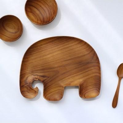 티크우드 코끼리플레이트
