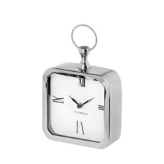 TABLE CLOCK CHUCK SILVER 20CM