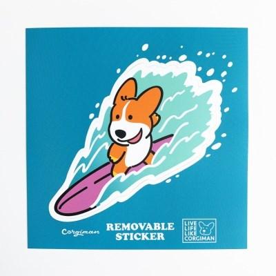 '서핑 코기' 리무버블 스티커