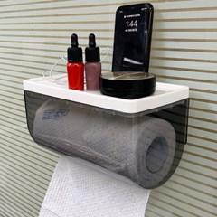 CNK5168 벽부착형 투명 롤 키친타올걸이 다용도 선반 종이타올케이스