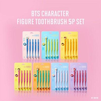 BTS캐릭터 피규어칫솔 5매입 & 자석거치대세트