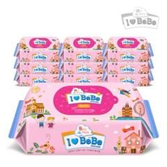 [아이러브베베물티슈] 핑크 100매 10팩 리필형