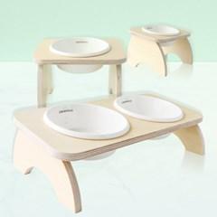 펫앤리빙 강아지 고양이 원목프레임 심플 도자기 밥그릇 물그릇 세트