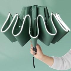 밤에도 안전하게 반사띠 역방향 접이식 3단 자동 우산