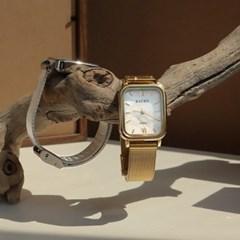 SENSOO 마티니 천연 자개 사각 메탈 시계