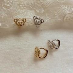 [봄밤달] 곰두리 원터치 귀걸이