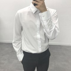 가을 남성 TR소재 정장 무지 스판 세미캐주얼 솔리드 셔츠
