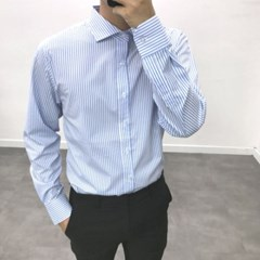가을 남성 TR소재 스트라이프 세미캐주얼 정장 와이드카라 셔츠