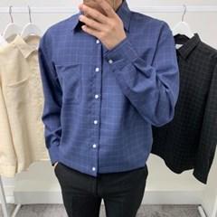 가을 남성 오버핏 셔츠 포켓 컬러 박스 정장 긴팔 셔츠 남방