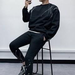 남자 상하세트 오버핏 페인팅 맨투맨 슬림 츄리링 조거팬츠