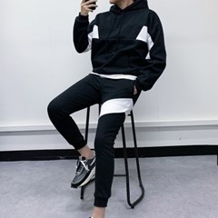 남자 상하세트 오버핏 배색 후드티 슬림 트레이닝 조거팬츠