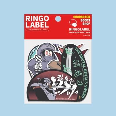 [링고라벨] 잔혹한 닌자 PVC 스티커팩 6pcs