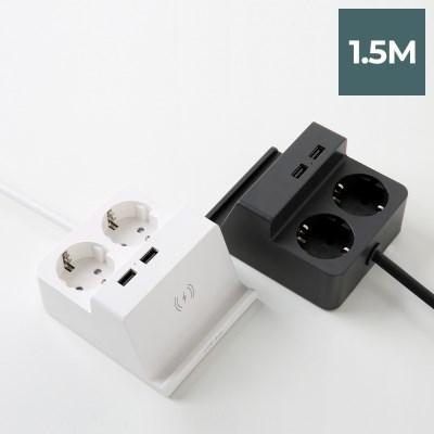 라이프썸 무선충전 USB 멀티탭 2구 1.5M (LFS-HA22) 2종