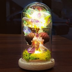 LED 크리스탈 로즈 무드등-프리저브드 드라이플라워