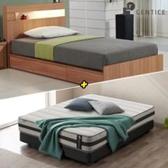 젠티스 [브로스 LED 3단서랍형 Q 침대 + 슬리피언 S5 매_(438885)