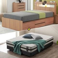 젠티스 [브로스 LED 4단서랍형 Q 침대 + 슬리피언 S5 매_(438882)