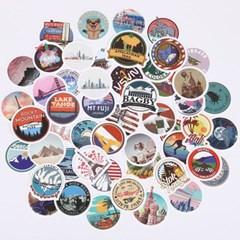 트래블 캠핑 노트북 여행가방 데코스티커 - 세계여행A+B - 100매