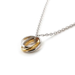 SVN-155 Gold and silver mixing 3-turn ring necklace