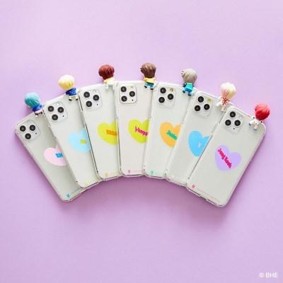 BTS캐릭터 피규어 투명젤리케이스 하트