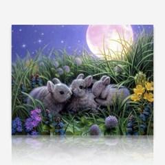 달밤의 토끼 세마리 DIY 보석십자수 십자수 비즈세트_(2462510)