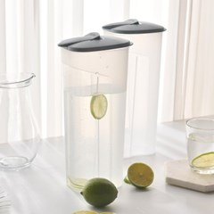 [1+1]원터치 투명 사각 냉장고물통 2400ml