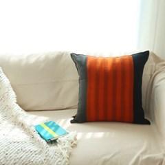 쿠션커버 50x50 썬셋블랙 오렌지 (솜별도)