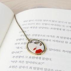 한국화 책갈피 남계우-빨강꽃과 나비