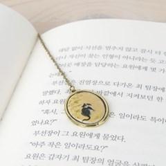 한국화 책갈피 정선-가을 고양이
