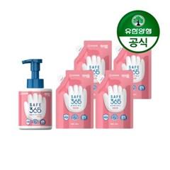 [유한양행]해피홈 핸드워시 용기 350ml+리필 200ml 핑크포레향 4개