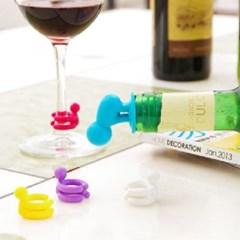 실리콘 와인마개 컵마커 7개1세트(색상랜덤)