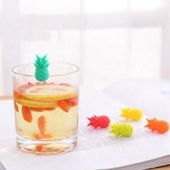 실리콘 파인애플 컵마커 6개1세트(색상랜덤)