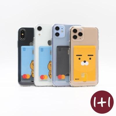 [1+1할인] 카드 포켓 베이직 투명 폰 케이스(아이폰 갤럭시 핸드폰)