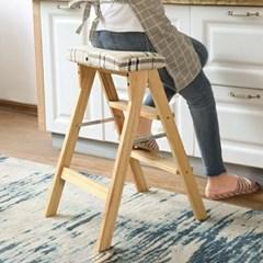 원목 접이식 사다리 의자 설거지의자_(251767)