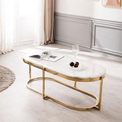 모딜리아니 대리석 타원형 골드 소파 테이블
